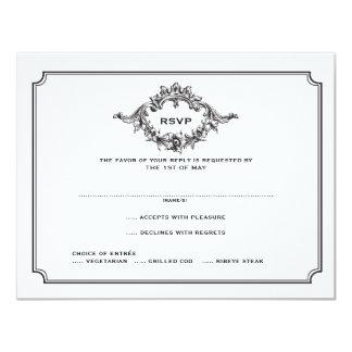Klassiek BloemenMonogram RSVP Kaart