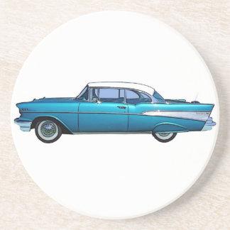 Klassiek de douaneonderzetter van auto 1957 Chevy Zandsteen Onderzetter