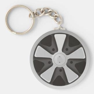Klassiek die sportwagen het rennen wiel op 911 basic ronde button sleutelhanger