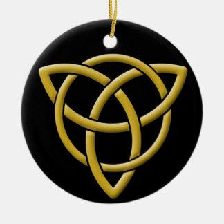 Klassiek Goud op Zwarte tri-Quatra Rond Keramisch Ornament