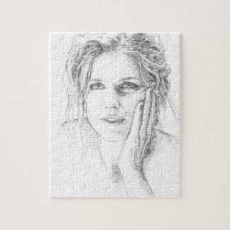 Klassiek hand getrokken portret puzzels