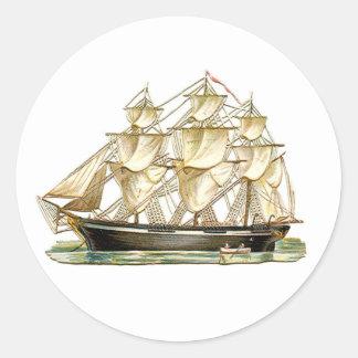 Klassiek Lang Schip Ronde Sticker