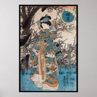 Klassiek vintage ukiyo-e Japans geishaportret Poster
