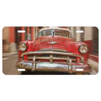 Klassieke Amerikaanse Auto de nummerplaat in van