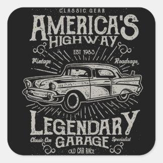 Klassieke Amerikaanse de Weg van Hotrod van de Vierkante Sticker