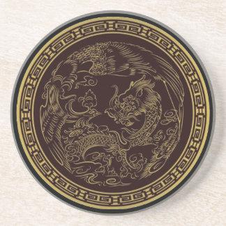 Klassieke Chinese Draak Zandsteen Onderzetter