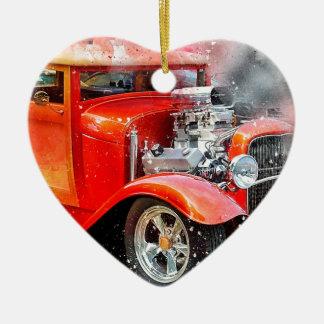 Klassieke Oude Rode Auto Keramisch Hart Ornament