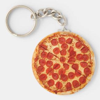 klassieke pizzaminnaar basic ronde button sleutelhanger