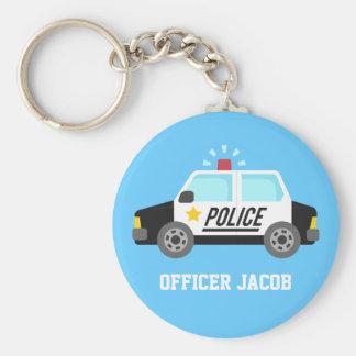 Klassieke Politiewagen met de Naam van de Sirene Basic Ronde Button Sleutelhanger