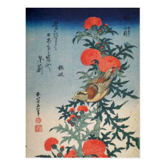 Klauwier en Distel (door Hokusai) Briefkaart