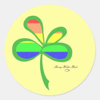 Klaver 2 van de Regenboog van vier Blad Ronde Stickers