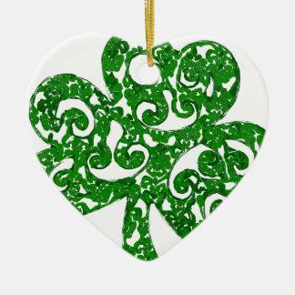 klaver keramisch hart ornament