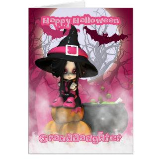 Kleindochter Halloween met Heks Girlie in pinks Kaart