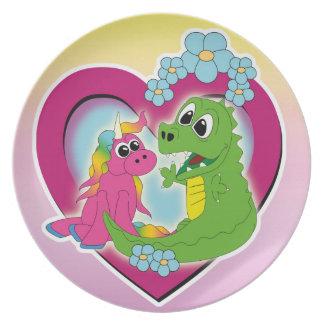 kleine beste vrienden - eenhoorn en draak melamine+bord
