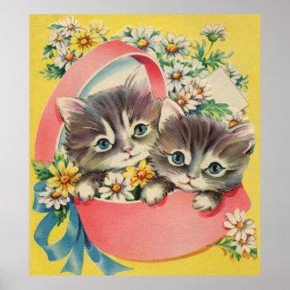Kleine Katjes een Hatbox en Madeliefjes Poster