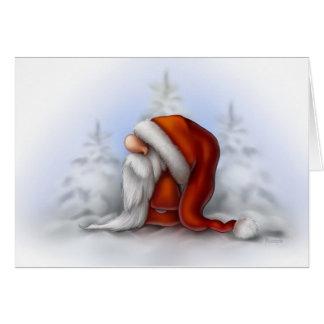 Kleine Kerstman in de sneeuw Briefkaarten 0