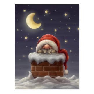 Kleine Kerstman in een schoorsteen Briefkaart