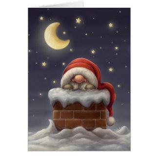 Kleine Kerstman in een schoorsteen Kaart