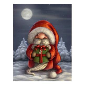 Kleine Kerstman met een gift Briefkaart