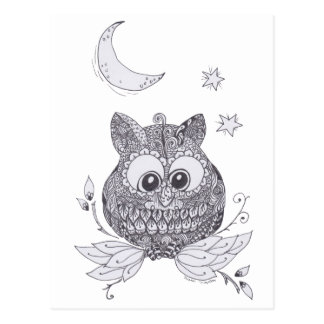 Kleine zentangleuil met maan wens kaarten
