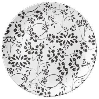 Kleine Zwarte Bloemen Porseleinen Bord