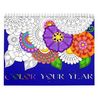 Kleur Uw Gedrukte Kalender van het Jaar Douane