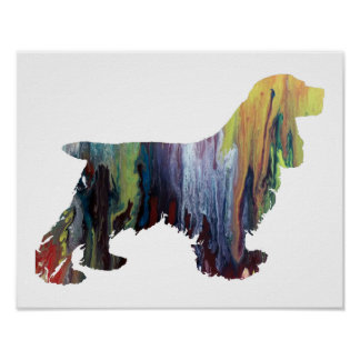 Kleurrijk abstract cocker-spaniëlsilhouet poster