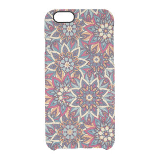 Kleurrijk abstract etnisch bloemenmandalapatroon doorzichtig iPhone 6/6S hoesje