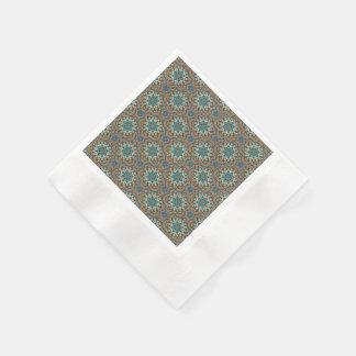 Kleurrijk abstract etnisch bloemenmandalapatroon papieren servetten