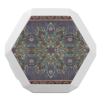 Kleurrijk abstract etnisch bloemenmandalapatroon witte bluetooth speaker