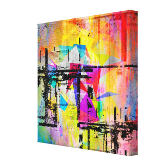 Kleurrijk Abstract Geometrisch Abstract Landschap Canvas Print