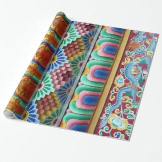 Kleurrijk Aziatisch Kunstwerk Inpakpapier