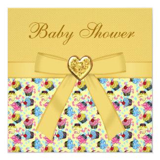 Kleurrijk Elegant Neutraal Baby shower Cupcakes 13,3x13,3 Vierkante Uitnodiging Kaart