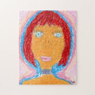 Kleurrijk Kleurpotlood Dame Artwork Portrait Puzzel