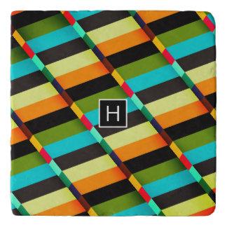 Kleurrijk Modern Abstract Strepen & Monogram Trivet