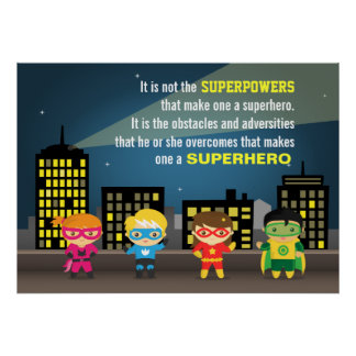 Kleurrijk Motiverend Citaat Superhero voor Kinder  Poster