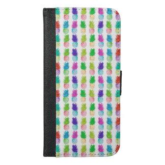 Kleurrijk pop-art het schilderen ananaspatroon iPhone 6/6s plus portemonnee hoesje