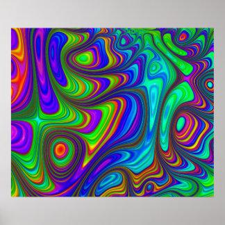 Kleurrijk regenboog 3D geweven abstract art. Poster