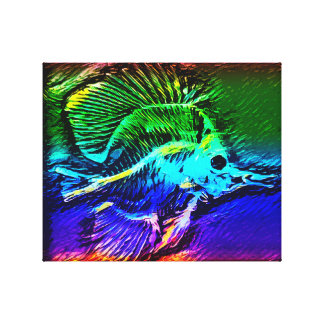 Kleurrijk zeeëngelskelet canvas afdrukken