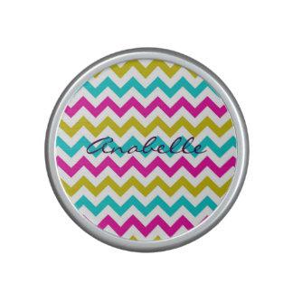kleurrijk zigzagpatroon gepersonaliseerd door naam bluetooth luidspreker