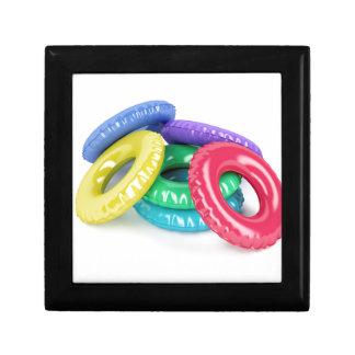 Kleurrijk zwem ringen decoratiedoosje