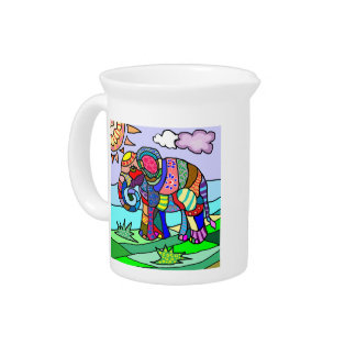 Kleurrijke abstracte artistieke folcloristic drank pitcher