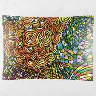 Kleurrijke Abstracte Getrokken Hand Bloemen Sierschaaltjes