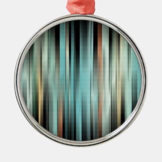 Kleurrijke Abstracte Strepen Zilverkleurig Rond Ornament