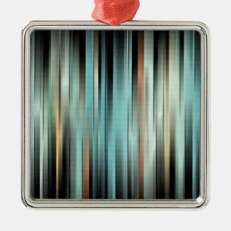 Kleurrijke Abstracte Strepen Zilverkleurig Vierkant Ornament