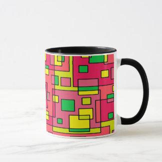 Kleurrijke Abstracte vierkant-Rode Yello Groene Mok