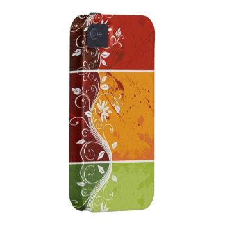 kleurrijke abstracte wervelings vectorbloemen iPhone 4 hoesjes