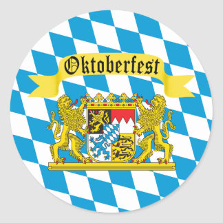 Kleurrijke Beierse Vlag Oktoberfest Ronde Sticker