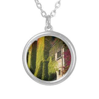Kleurrijke bladeren op huismuren zilver vergulden ketting