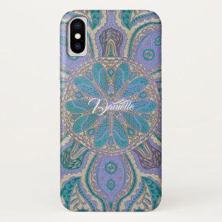 Kleurrijke Blauwgroen Paarse Gouden Mandala iPhone iPhone X Hoesje